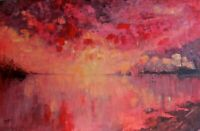 """sunset, sea, abstract, red, palette knife, sky, 24""""x30"""", Acrylic on 3/4""""d canvas"""