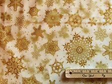 Holiday Flourish Ivory/Gold Snowflake Kaufman Fabric  by the 1/2 Yard #15151-15
