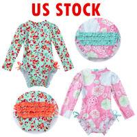 Baby Girls Floral Swimsuit Long Sleeve Sun Protective Swimwear Bikini Beachwear