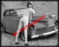 Nude Female Model with Vintage Car B&W fine art photo print 8x10, Image No. 004