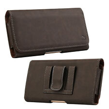 Brown Genuine Leather Case Clip Luxmo Horizontal Pouch for ZTE ZMAX One Z719DL