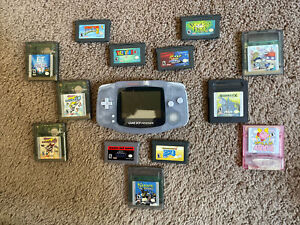 Nintendo Game Boy Gameboy Advance AGB-001 Glacier Lot With 13 Games Tested Mario