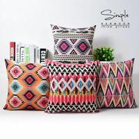 Aztec Boho Geometric Abstract Cotton Linen Pillow Case Cushion Cover Home Decor