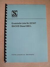 Sachs Diesel 600 Ersatzteilliste - Motor von Holder A12 B12 E12
