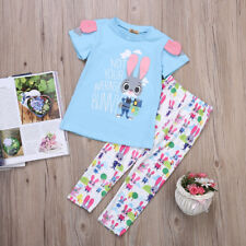 2pcs Toddler Kid Girls Short Sleeve T-shirt Tops + Long Pants Outfits Clothes