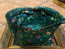 """Vintage Longaberger Emerald Vine Floral Basket Liner 5"""" Tall 7"""" Wide Square Euc"""