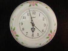 "Vintage Sunbeam Quartz Porcelain Wall Clock 10 1/2"" Diameter Floral Design"