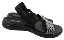 Skechers Goga Mat Womens 10 Black Jeweled Slingback Sandals