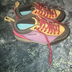 size 6 women's vasque purple yellow full tread hiking shoes leather  21-1718