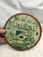 Vintage Tin Litho Cookie Tin Canister with Fire Place Hearth Country Cottage