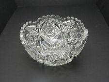 "Libbey Hobstar Cut Glass Bowl Clear TM 7"" D Ca 1920"