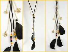 """New 28"""" Black Feather Necklace with Butterfly Bird & Leaf Charms #N2364"""