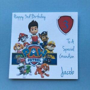 Personalised Paw Patrol Birthday Card - 1st 2nd 3rd 4th 5th -Grandson Nephew Son