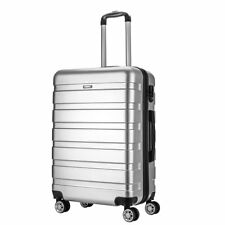 """Silver Hard Shell 4 Wheels Suitcase PC 24"""" Wine Luggage Travel Bag Case Carry On"""
