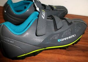 NEW WOMENS LOUIS GARNEAU HRS-80 GRAY TEAL CYCLING SHOES W/ CLEATS 41 OR US 10