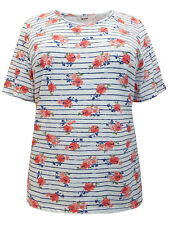 MILLERS LADIES PURE COTTON FLORAL OVERSTRIPE PRINT TOP WHITE NEW (ref 384)