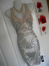**STUNNING** LIPSY LONDON SIZE 10 NUDE SILVER SEQUI WIGGLE DRESS **FAST POSTAGE*