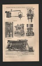 Lithografie 1897: Elektromotorischer Antrieb. Drehbank Bohrmaschine Zentrifuge