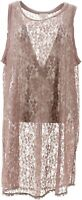 LOGO Layers Lori Goldstein Long Lace Tank Shirttail Hem Maple 2X NEW A287995