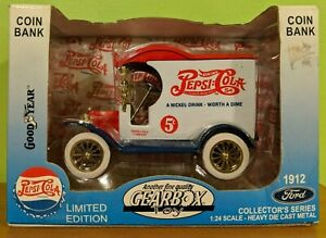 GEARBOX Ltd. Edition PEPSI-COLA 1912 FORD Die Cast Car Coin Bank 1:24 Scale