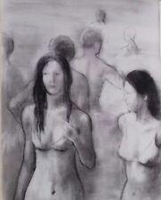 Andre Vignoles : fusain original sur papier, cachet atelier au dos. Baigneuses