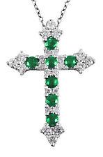 Emerald Birthstone 14K White Gold 0.66CT Religious Cross Diamond Pendant