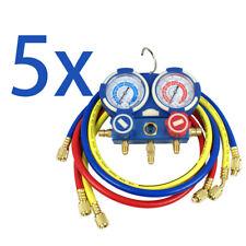 5PC R134a R410a R22 AC A/C Manifold Gauge Set 4FT Colored Hose Air Conditioner
