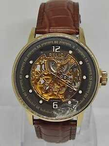 Relic By Fossil ZR77241 Mechanical Manuel Winding Watch Brand New Leather Strap