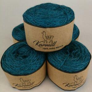 Alpaca Wool Skeins 100% Baby Alpaca Yarn Lot of 5 Sport Weight Bay Blue C996