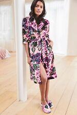 Next Pink Floral Print Super Soft Fleece Dressing Night Gown Robe X-Large 20-UK