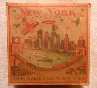 Antique 1928 Marx NEW YORK Skyline Tin Wind-Up Toy - With Original Box - Scarce
