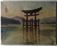 Tableau Ancien Huile signée J.P. Paysage Le Torii de Miyajima JAPON à restaurer