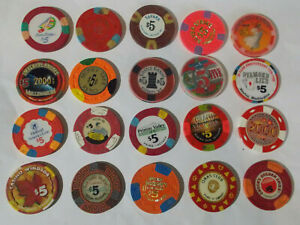 MIXED LOT OF 20 $5 hotel casino gaming poker chips ~  (LOT #6) VARIOUS LOCATIONS