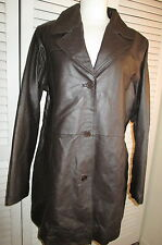 CENTIGRADE LEATHER QUILTED LINED COAT DK BROWN SIZE LARGE *NEW*