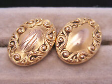 Antique Victorian Edwardian Era 14K Yellow Gold Emboss Engraved Cufflinks Button