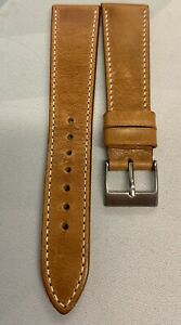 Pebro Vintage Leather Watch Strap in pecan brown 20mm