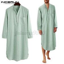 Men's Long Sleeve Cotton Nightgown Robe Bathrobe Pajamas Sleepshirt Nightshirts