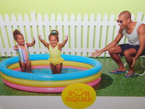 """NEW SUN SQUAD INFLATABLE KIDS 3 RING KIDDIE RAINBOW POOL 5' 6"""" WIDE AGES 2+"""
