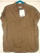 Ladies Short Sleeved Linen Blend Shirt Brown Size 22 BNWT Cherokee