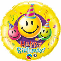 "HAPPY BIRTHDAY SMILEY YELLOW ROUND FOIL BALLOON 18"" BIRTHDAY PARTY SUPPLIES"