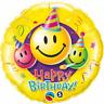 """HAPPY BIRTHDAY SMILEY YELLOW ROUND FOIL BALLOON 18"""" BIRTHDAY PARTY SUPPLIES"""