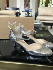 Christian Louboutin 38.5 Silver Kitten Heel Shoes