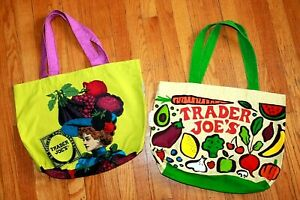 Lot of 2 * Two Side TRADER JOE'S Reusable Shopping Bags Fruit & Vegetable Theme