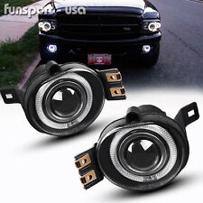 for 02-08 Dodge Ram 1500 Pickup LED Halo Projector Front Bumper Fog Lights Lamps