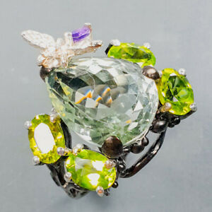 Pretty jewelry ring Green Amethyst Ring Silver 925 Sterling  Size 8.75 /R176265
