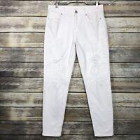 Elie Tahari White Ryan Boyfriend Distressed Low Rise Mom Jeans Pants Size 27