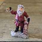 Vintage Cast Bell Ringing Santa Miniature Give To The Poor 1991Christmas Village