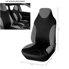 Car Seat Covers High Back Bucket Fit Polyester Fabric Front Single Black & Gray