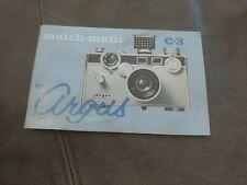 New listing Argus Match-Matic C3 Camera Owner's Manual Instruction Book – Original