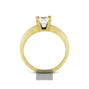 3/4ct D SI2 Princess Natural Diamond 14k  Classic Solitaire Engagement Ring